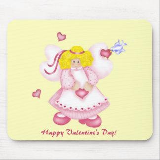 Ángel adorable lindo 1 de los corazones tapetes de raton