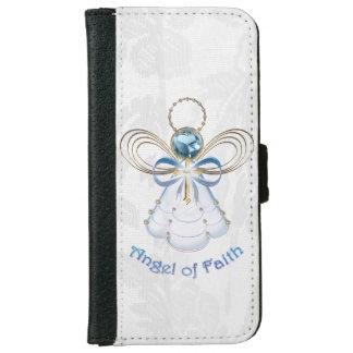 Ángel afiligranado azul del navidad de la fe carcasa de iPhone 6