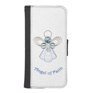 Ángel afiligranado azul del navidad de la fe cartera para iPhone 5