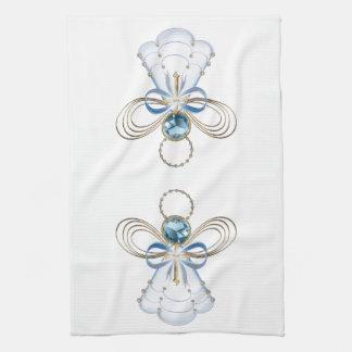 Ángel afiligranado azul del navidad de la fe toalla