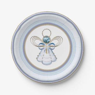 Ángel afiligranado metálico azul del navidad de la plato de papel de 7 pulgadas