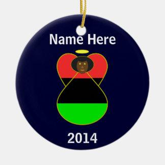 Ángel afroamericano de la bandera ornamento para arbol de navidad