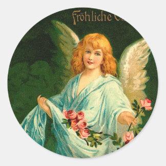 Ángel alemán hermoso de Pascua del vintage Pegatina Redonda