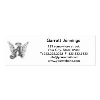 Angel Alphabet A Initial Latter Wings Halo Business Card Template