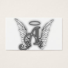 Angel Alphabet A Initial Latter Wings Halo Business Card at Zazzle