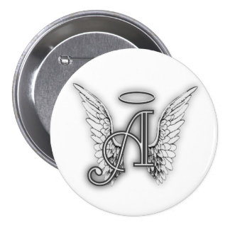 Angel Alphabet A Initial Latter Wings Halo Button