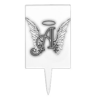 Angel Alphabet A Initial Latter Wings Halo Cake Topper