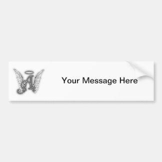 Angel Alphabet A Initial Latter Wings Halo Car Bumper Sticker
