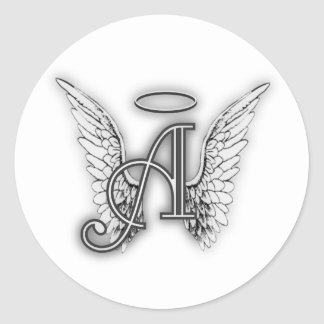 Angel Alphabet A Initial Latter Wings Halo Classic Round Sticker