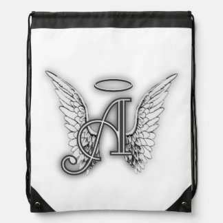 Angel Alphabet A Initial Latter Wings Halo Drawstring Backpack