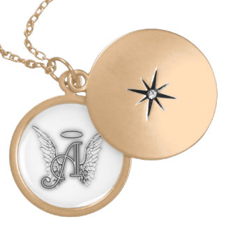 Angel Alphabet A Initial Latter Wings Halo Gold Plated Necklace