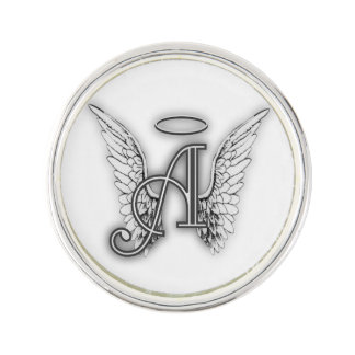 Angel Alphabet A Initial Latter Wings Halo Lapel Pin