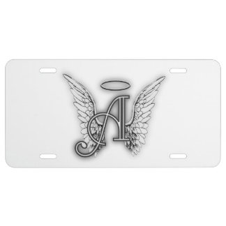 Angel Alphabet A Initial Latter Wings Halo License Plate