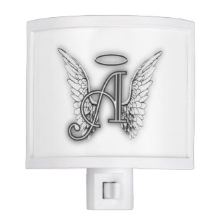 Angel Alphabet A Initial Latter Wings Halo Night Light