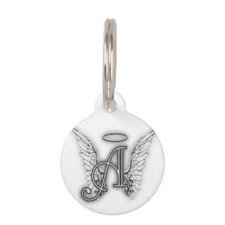 Angel Alphabet A Initial Latter Wings Halo Pet ID Tag
