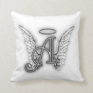 Angel Alphabet A Initial Latter Wings Halo Throw Pillows