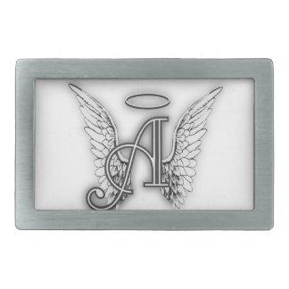 Angel Alphabet A Initial Latter Wings Halo Rectangular Belt Buckle