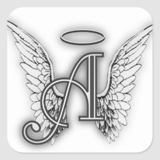 Angel Alphabet A Initial Latter Wings Halo Square Sticker