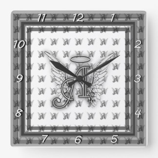 Angel Alphabet A Initial Latter Wings Halo Square Wall Clock