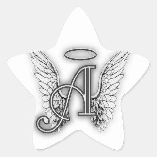 Angel Alphabet A Initial Latter Wings Halo Sticker