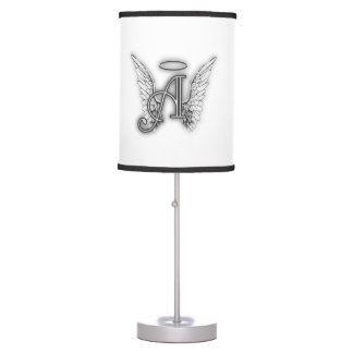 Angel Alphabet A Initial Latter Wings Halo Table Lamp