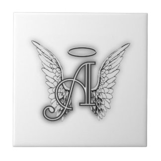 Angel Alphabet A Initial Latter Wings Halo Ceramic Tiles
