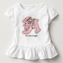 Angel Alphabet A Initial Monogram Toddler T-shirt