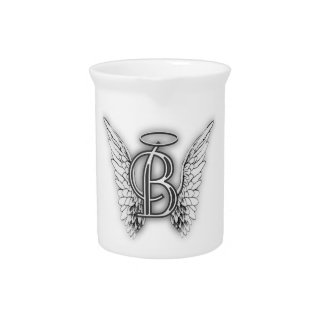 Angel Alphabet B Initial Latter Wings Halo Drink Pitcher