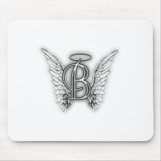 Angel Alphabet B Initial Latter Wings Halo Mouse Pad