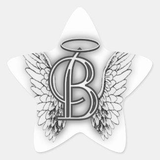 Angel Alphabet B Initial Latter Wings Halo Star Sticker