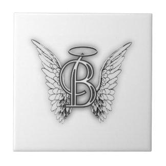 Angel Alphabet B Initial Latter Wings Halo Ceramic Tile
