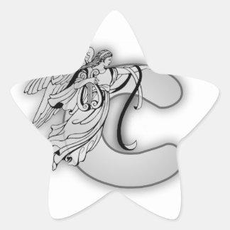 Angel Alphabet C Initial Monogram Star Stickers