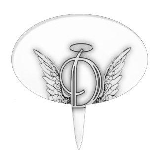Angel Alphabet D Initial Latter Wings Halo Cake Topper