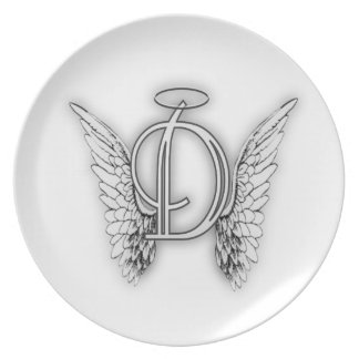 Angel Alphabet D Initial Latter Wings Halo Plate