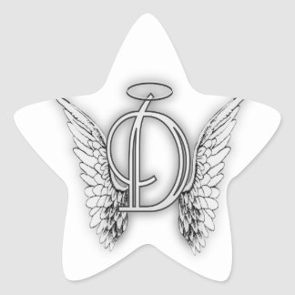 Angel Alphabet D Initial Latter Wings Halo Stickers