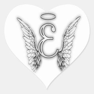 Angel Alphabet E Initial Latter Wings Halo Heart Sticker