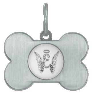 Angel Alphabet E Initial Latter Wings Halo Pet Tag