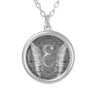 Angel Alphabet E Initial Latter Wings Halo Silver Plated Necklace