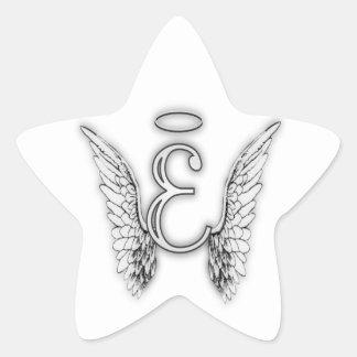 Angel Alphabet E Initial Latter Wings Halo Star Sticker