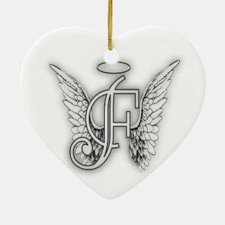 Angel Alphabet F Initial Latter Wings Halo Ceramic Ornament