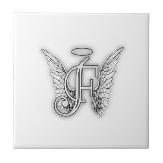 Angel Alphabet F Initial Latter Wings Halo Tiles