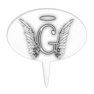 Angel Alphabet G Initial Latter Wings Halo Cake Topper