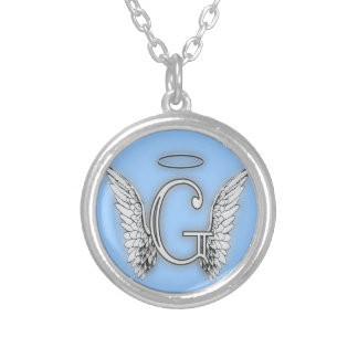 Angel Alphabet G Initial Latter Wings Halo Pendant
