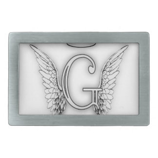 Angel Alphabet G Initial Latter Wings Halo Rectangular Belt Buckle