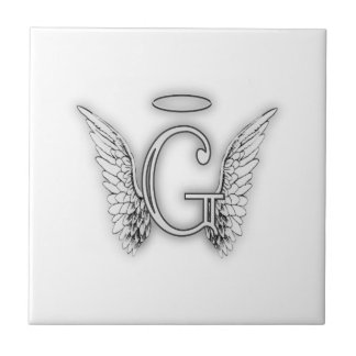 Angel Alphabet G Initial Latter Wings Halo Ceramic Tiles