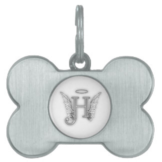 Angel Alphabet H Initial Latter Wings Halo Pet Name Tag