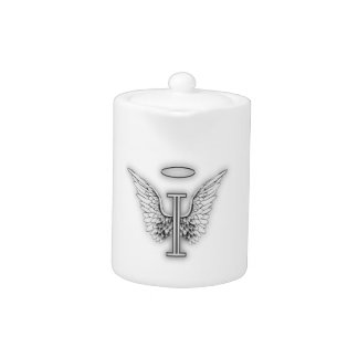 Angel Alphabet I Initial Letter Wings Halo Teapot