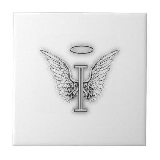 Angel Alphabet I Initial Letter Wings Halo Tiles