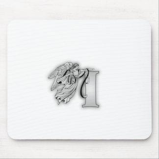 Angel Alphabet I Initial Monogram Mouse Pad