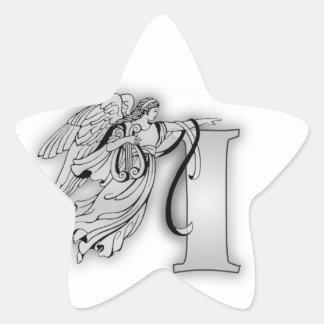 Angel Alphabet I Initial Monogram Star Sticker